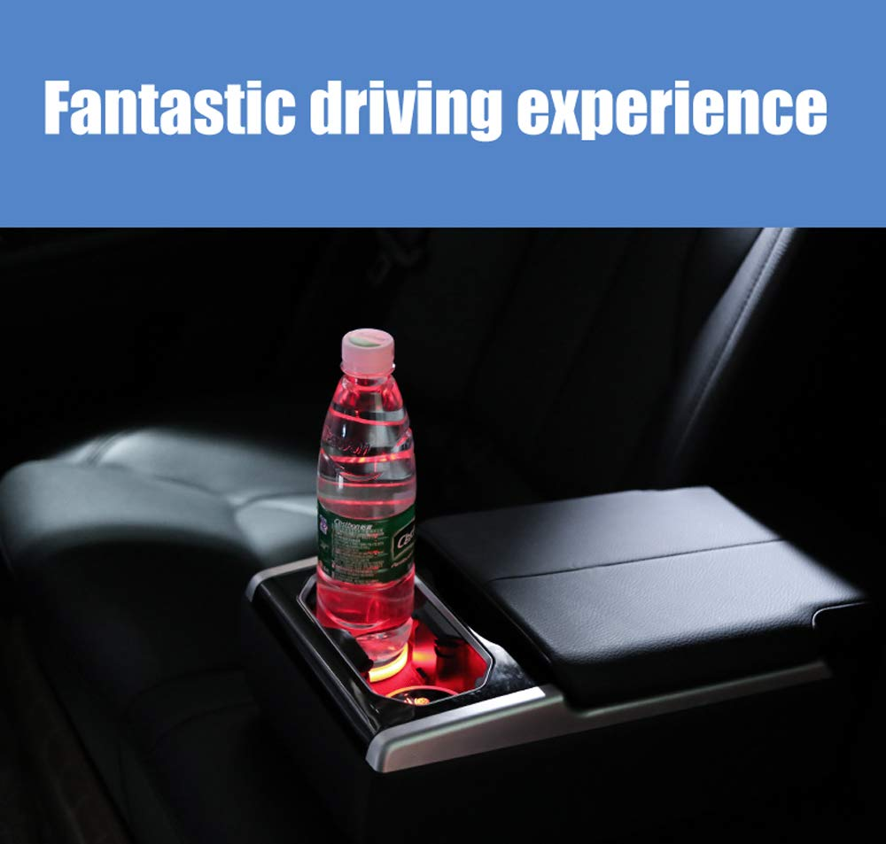 LED Interior Atmosphere Lamp Interesting car 7 Colors Changing USB Charging Mat Luminescent Cup Pad 2pcs LED Car Cup Holder Lights for Ford
