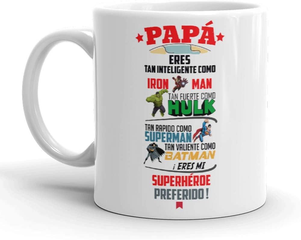 Kembilove Taza de Café para Papá Eres mi Superhéroe Preferido – Taza de Desayuno para Regalar el día del Padre – Tazas de Café y Té para Padres y Abuelos – Regalo Original