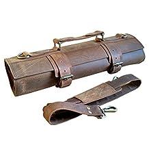 One Leaf - Rugged Leather Knife Bag for Chefs - Tuareg (Brass Color Hardware)