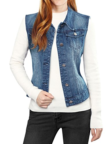Denim Jeans Sleeveless (Allegra K Women's Washed Denim Vest Dark Blue XL)