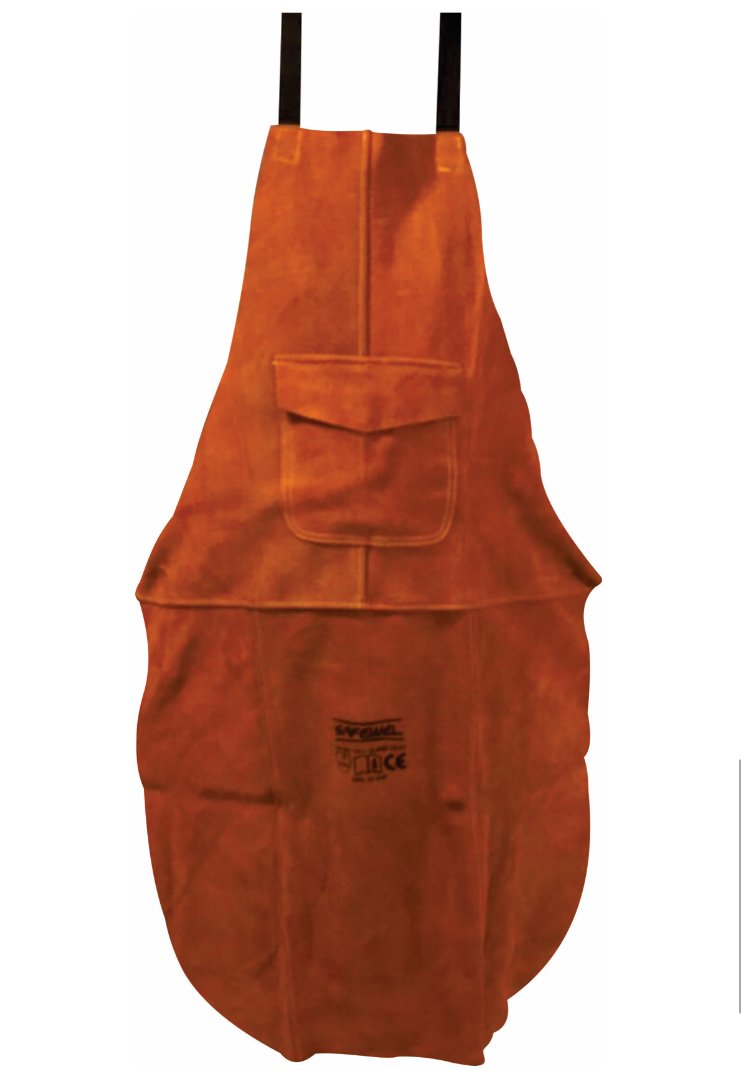 Premium Brown Leather Welders Welding Blacksmith Carpenters Woodworkers Apron - KEVLAR Stitched Safwel