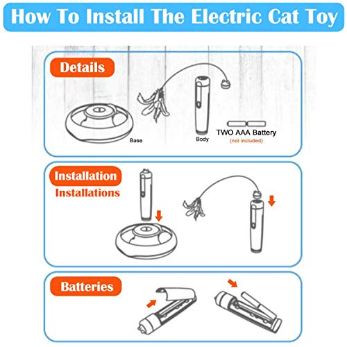Hollypet Electric Cat Teasing Toy 360 Degree Mute Training Pet Toy Kitten Rotate Feather Interactive Toy 7