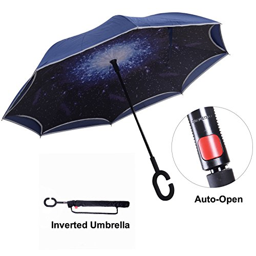 Travel Ease Inverted Umbrella with Light Reflection Strip, Double Layer Car Reverse Umbrella, Auto-Open Self-Standing Umbrella with C-Shape Handle Plus Carrying Bag for Free Hands (Starry Sky)