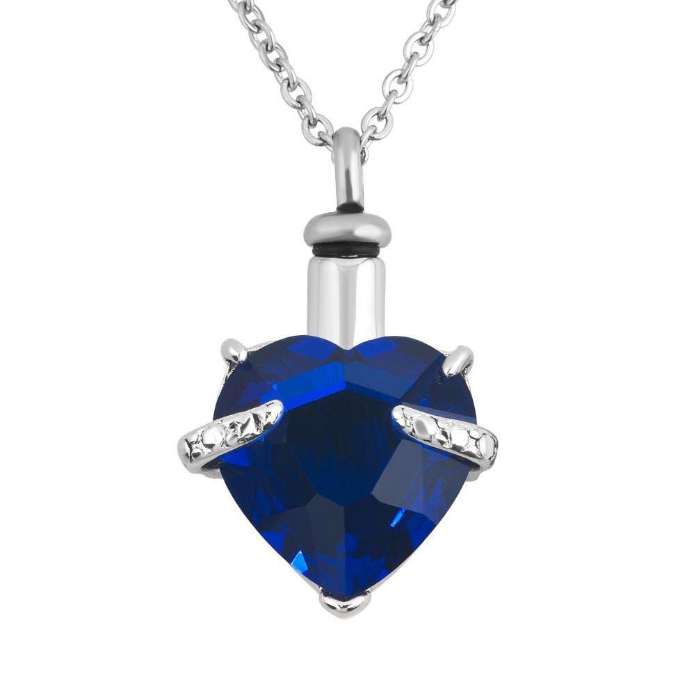 JewelryJo Urn Necklace for Ashes Dad Mom Cremation Keepsake Birthstone Love Heart Crystal Pendant SEP.