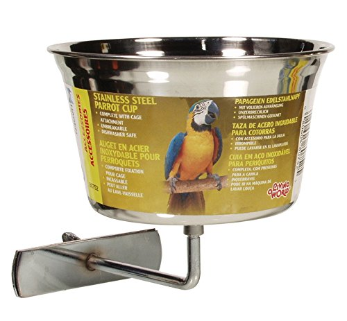 Living World Stainless Steel Parrot Cup, 32-Ounce by Living World
