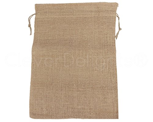 CleverDelights 10'' x 14'' Burlap Bags with Natural Jute Drawstring - 50 Pack - Large Burlap Pouch Sack Favor Bag for Showers Weddings Parties and Receptions - 10x14 inch by CleverDelights (Image #1)'