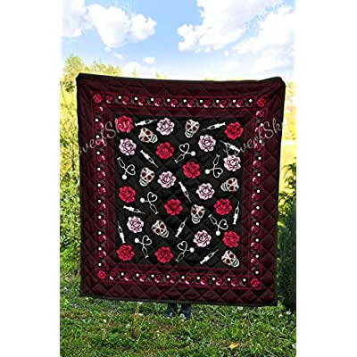 LoveofSky Sugar Skull Nurse and Roses Quilt Queen Size - Comforters Christmas Birthday Little Girls Kids - Best Decorative, Gifts from Mom Mommy Mother Dad Daddy Father: Home & Kitchen