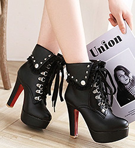 Chunky Boots Lace Toe Booties Women's Studded Ankle High Fold Round Black Aisun Platform Dressy Heel Short Collar Up Over xqvXCBwB