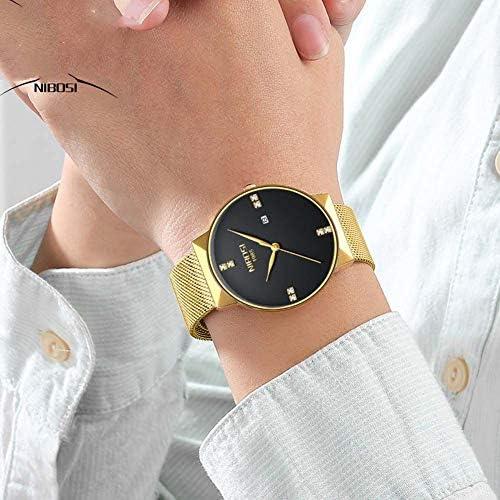 男女兼用の男性の腕時計および腕時計の女性の防水網バンドSmpleの腕時計の薄い服の腕時計
