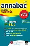 Annales Annabac 2012 Sciences 1re ES,L sujets et corrigés
