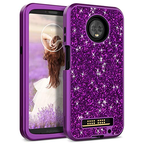 Motorola Moto Z3 Play Case, WeLoveCase Luxury Glitter Sparkle Bling Cases 3 in 1 Shockproof Three Layer Heavy Duty Hybrid Protective Cover Case for Motorola Moto Z3 Play Purple