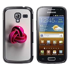 Rosa de plástico gris del símbolo del patrón de lana- Metal de aluminio y de plástico duro Caja del teléfono - Negro - Samsung Galaxy Ace 2