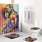 CqmzpdiC 4Pcs Egyptian Style Bathroom Shower Curtain Toilet Cover Non-Slip Floor Mat Rug Water-Absorption Durable Mildew Resistant Comfortable Practical Easy Washing Bathroom Decor 1#