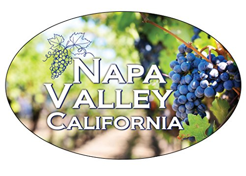 (R and R Imports Napa Valley California Souvenir Wine Country Sonoma Grapes Oval Decal Sticker)