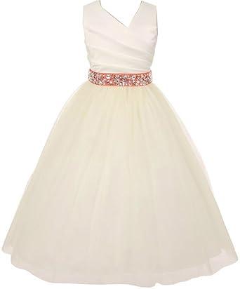 eb81b8f742e8 Flower Girl Dress V-Neck Satin Top Tulle Skirt Rhinestone Belt for Little  Girl Ivory