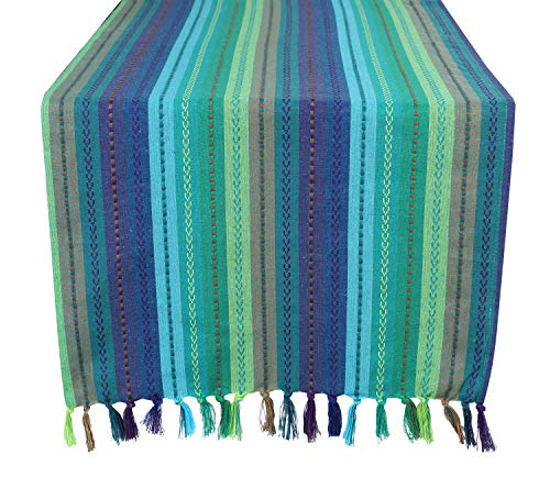 Multi Stripe Runner - Salsa Stripe Hand Knotted Fringe Oversized Table Runner - 18x72 - Teal Multi - 100% Cotton - Hand Woven by Skilled artisans - Hand Knotted Decorative Fringes - Set of 2