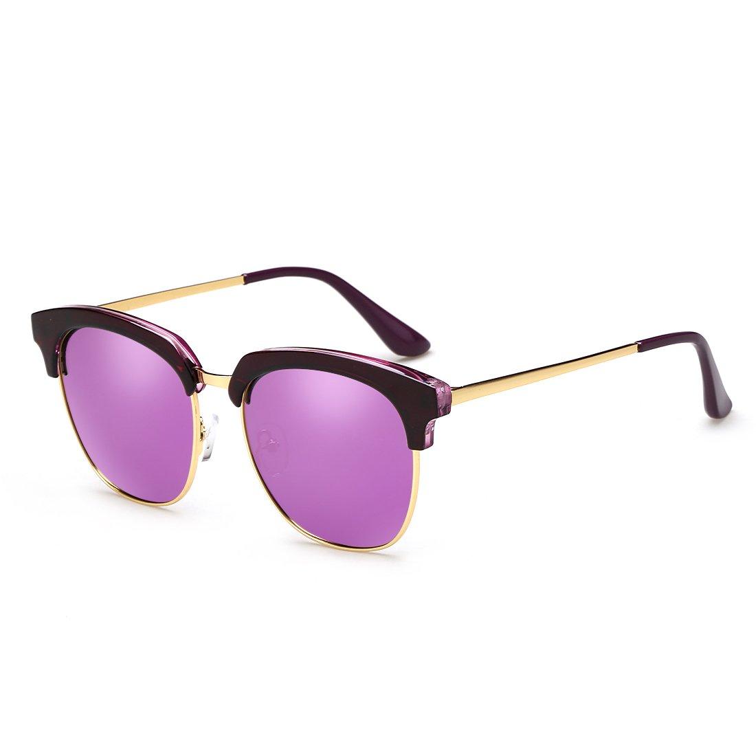 ZHIRONG Gafas de sol polarizadas, marco semi-sin montura, protección ...