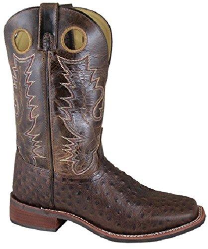 Mens Di Montagna Fumoso Taglia 12 Stivali Da Cowboy Western In Pelle Di Struzzo Marrone Crackle Marrone