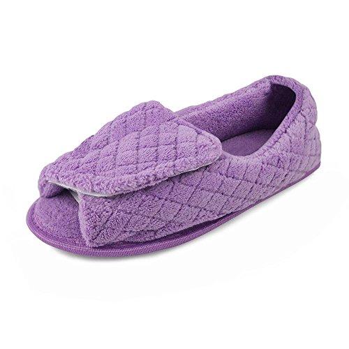 Muk Luks Micro Chenille Adj Pantoufle Femme Pantoufle Grande Nous Lavande