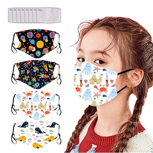 ThsiJJ 4PC Kids Reusable Face Bandanas with 8PC filter Breathable Seamless Cute Print Cotton for children