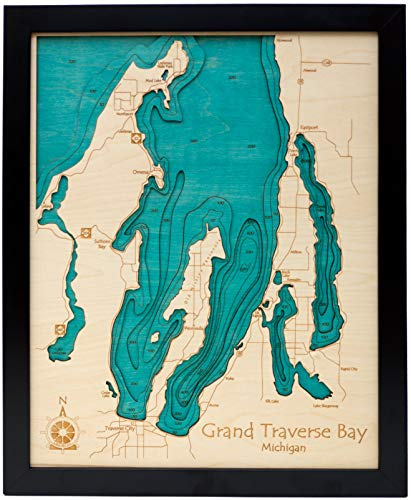 Indian Lake - Westmoreland County - PA (Proof Required) - 3D Map 16 x 20 in (Black Frame with Glass) - Laser Carved Wood Nautical Chart and Topographic Depth map.
