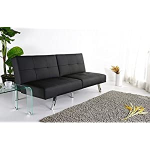 K&A Company Black Leatherette Foldable Sofa Click-Clack Futon Bed Leather Sleeper Bonded Couch Room Sofa Bed