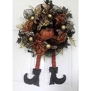 Halloween witch's legs wreath, Black and Gold Chevron,Halloween wreath, Witch wreath, Fall wreath, Halloween door hanger, hats boots wreath 38