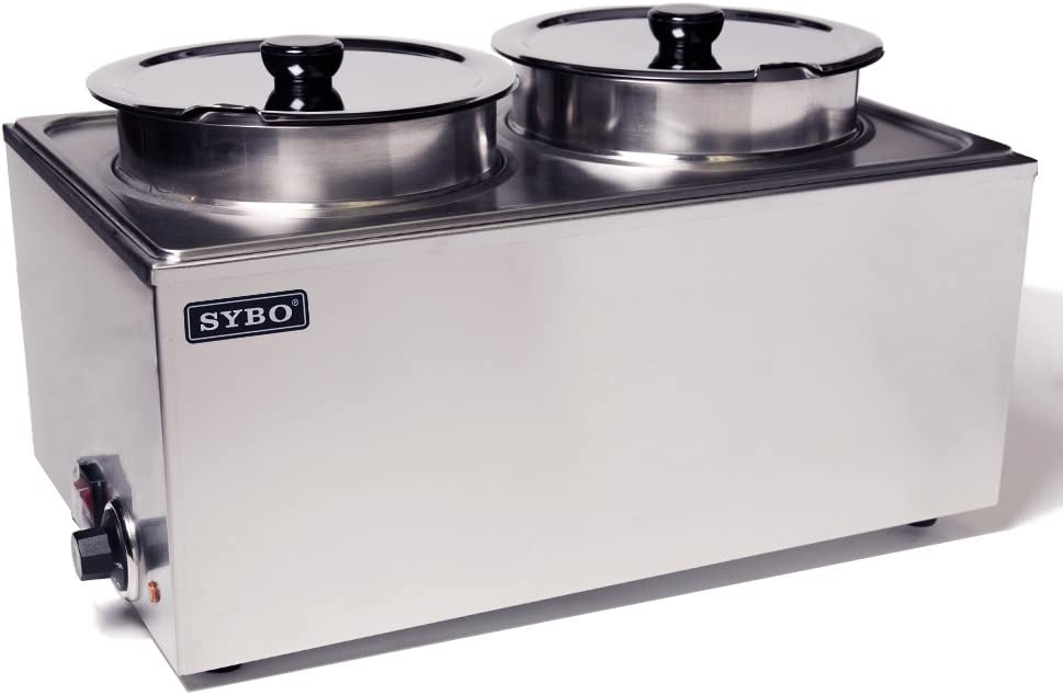 SYBO ZCK165A-4 Commercial Grade Stainless Steel Bain Marie Buffet Food Warmer Steam Table for Catering and Restaurants, (2 Round Pots), Sliver