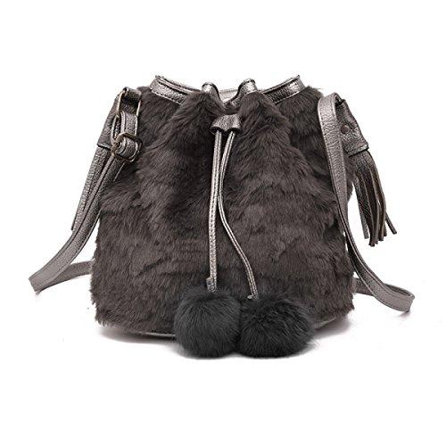 Bolsa De Cubo Lovely Plush Handbag Shoulder Messenger Handbag,Gray Gray