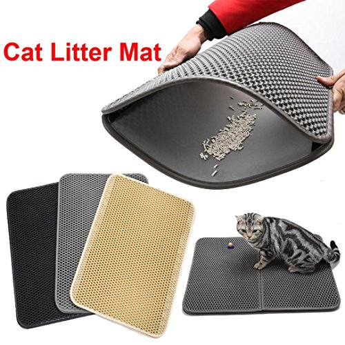 Nacome Honeycomb Large Cat Litter Mat Premium Kitty Box Trapping Sifting Pads Waterproof Urine Repellent Scatter Activity Play Scratching/Nap to Keep Floor Corner Carpet clean Best for Grumpy (Beige) by Nacome