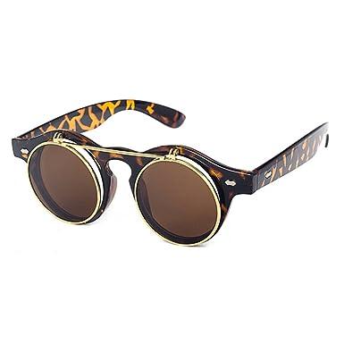 Double couche lunettes juqilu Hommes Femmes Vintage ronde SteamPunk Style lunettes de soleil C4 5elNL8Lwna