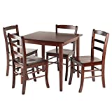 Winsome Wood Groveland Square Dining Table with 4 Chairs, 5-Piece