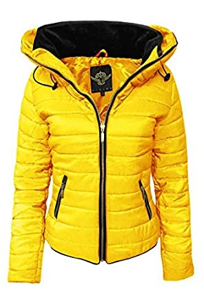 Cexi Couture New Womens Padded Quilted Bomber Jacket Ladies Hooded