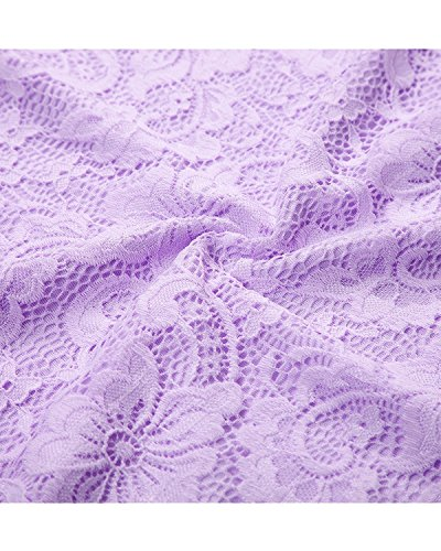 Party Lavender Sleeves Cocktail V Dress with Women Bridesmaid Bridesmay Lace Neck Floral 1gY1OHq