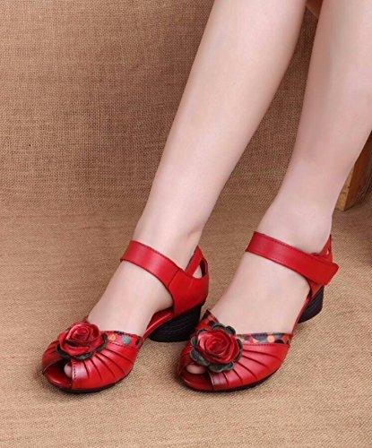 GTVERNH-Im Sommer Folk - Stil Stil Stil Ihre Schuhe Mit Blaumen Trug Rote Schuhe Sandalen Square Fisch Im Mund 620031