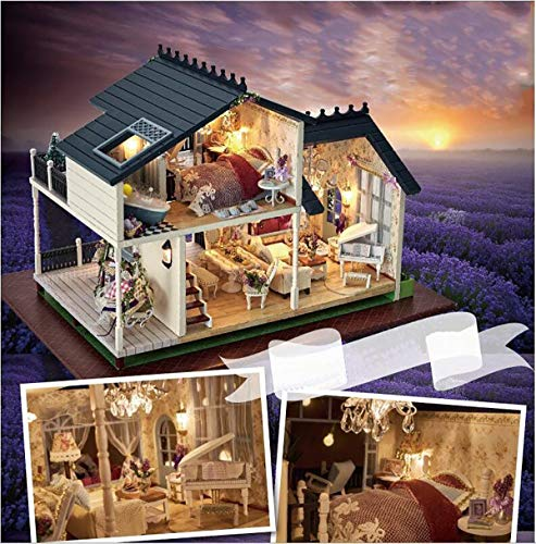 DIY Handcraft Miniature Project Kit Wooden Puzzle Dollhouse My Provence Lavender Villa Mini Furniture Decoration ()