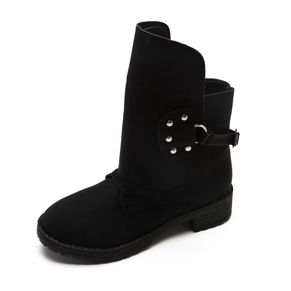 16c5b37f7ff42 Amazon.com: UUGULO Winter Women Ankle Boots Round Toe Soft PU ...