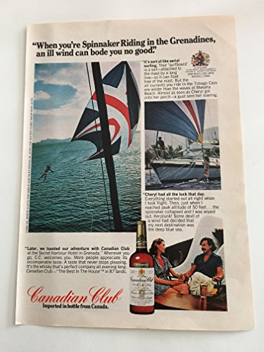 1973 Canadian Club Whisky Spinnaker Riding In Grenadines Magazine Print Advertisement