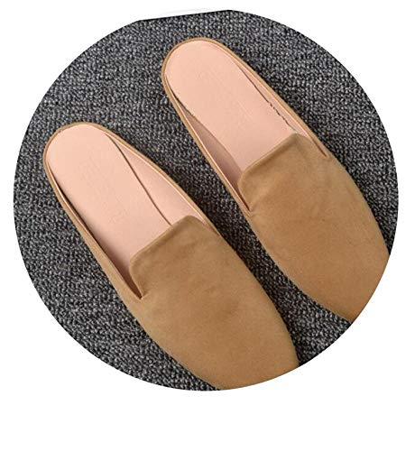 Heat-Tracing Brief Velvet 34-44 Mules Woman Summer Square Toe Slippers Lady Babouche Comfort Casual flip Flops Feminino,Khaki,5 (Edmonton Clearance Furniture)