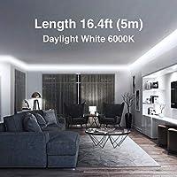 16.4ft // 5m 300 LEDs Strip Lights for Make up Table Onforu LED Vanity Mirror Lights Kit Non-Waterproof LED Tape 6000K Daylight White Under Cabinet Lighting Strips UL Listed Power Supply