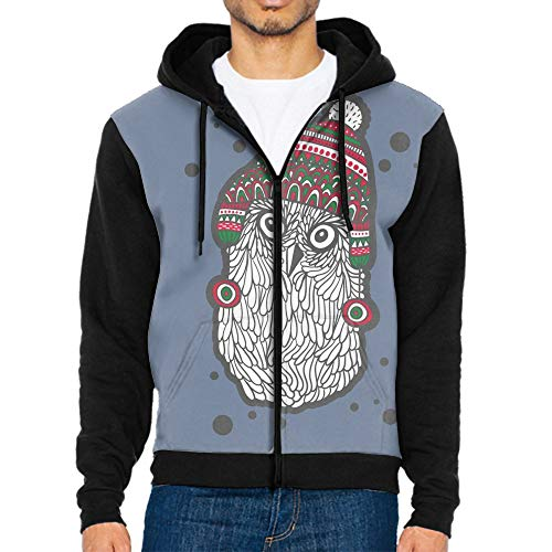 Sweatshirt Fashion Hoodie,Cute Doodle Owl in The Hat Men Autumn Long Sleeve Sweatshirt Zipper Tops ()
