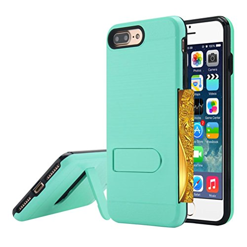 For iPhone 8 Plus 5.8 inch, Mchoice Card Pocket Holder Holster Case Stand Cover Protect for iPhone 8 Plus 5.8 inch (Mint Green)
