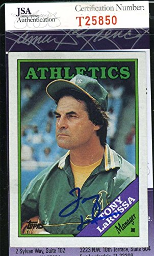 (TONY LARUSSA 1988 TOPPS COA Hand Signed Authentic Autographed - JSA Certified - Baseball Slabbed Autographed Cards)
