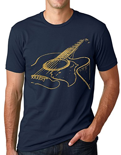 Think Out Loud Apparel Acoustic Guitar Shirt Cool Musician Tee Navy and Gold 2XL ()