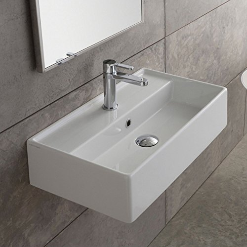 Scarabeo 5001-One Hole Teorema Rectangular Ceramic Wall Mounted/Vessel Sink, White ()