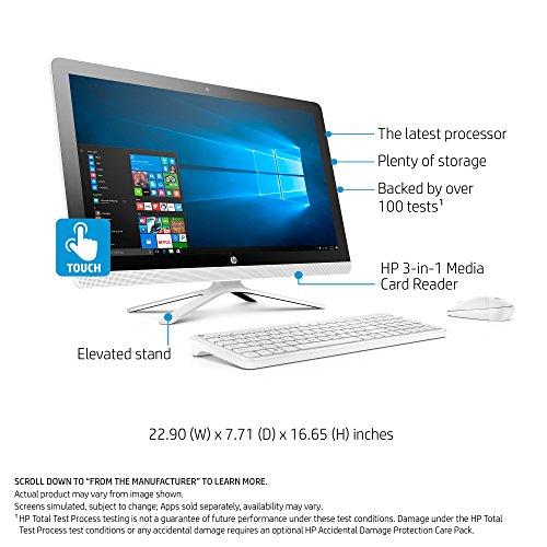HP 24-inch All-in-One Computer, Intel Core i3-7100U, 4GB RAM, 1TB hard drive, Windows 10 (24-g230, White) by HP (Image #1)