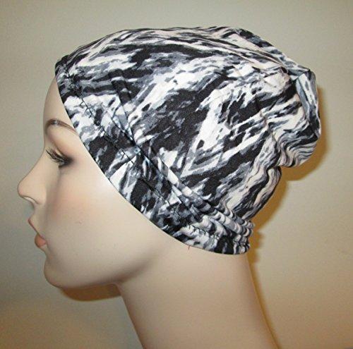 black-gray-white-g-lycra-lightweight-cap-chemo-hat-alopecia-head-cover-cancer-beanie