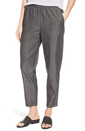 e8f23112815 Image Unavailable. Image not available for. Color: Eileen Fisher Black  Tencel/Organic Cotton Tapered Ankle Pants Size ...