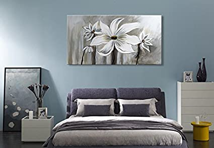 Seekland Art Hand Painted Flower Oil Painting On Canvas Floral Wall Art  Abstract Black And White