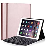 TechCode 9.7 inch iPad Keyboard Case 2017, PU Leather Smart Case Flip Protective Cover with Detachable Wireless Bluetooth Keyboard for Apple iPad Pro 9.7/2017 New iPad/iPad air1/air 2 (Rose Gold)